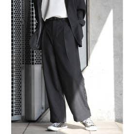 【2021 SPRING】ポリトロリラックス ワイドシルエットイージーパンツ スーツ地 (ブラック)