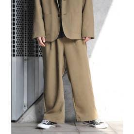 【2021 SPRING】ポリトロリラックス ワイドシルエットイージーパンツ スーツ地 (ブラウン)
