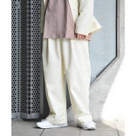 【2021 SPRING】ポリトロリラックス ワイドシルエットイージーパンツ スーツ地 (アイボリー)