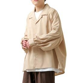 バルーンスリーブビックシルエット長袖オープンカラーシャツ (ベージュ)