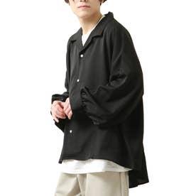バルーンスリーブビックシルエット長袖オープンカラーシャツ (ブラック)