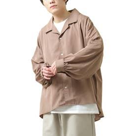 バルーンスリーブビックシルエット長袖オープンカラーシャツ (チャコール)