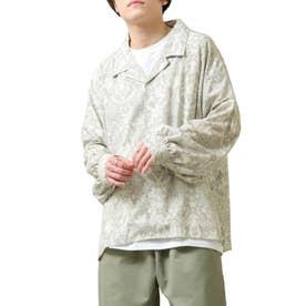 バルーンスリーブビックシルエット長袖オープンカラーシャツ (ベージュ系)