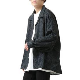 バルーンスリーブビックシルエット長袖オープンカラーシャツ (ブラック系)