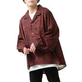 バルーンスリーブビックシルエット長袖オープンカラーシャツ (ワイン)