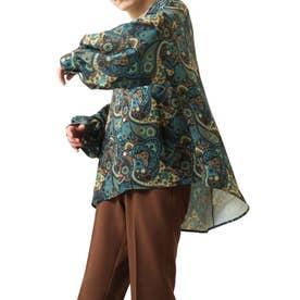 バルーンスリーブビックシルエット長袖オープンカラーシャツ (グリーン系)
