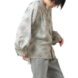バルーンスリーブビックシルエット長袖オープンカラーシャツ (ブラウン系)