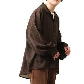 バルーンスリーブビックシルエット長袖オープンカラーシャツ (ブラウン系1)