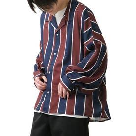 バルーンスリーブビックシルエット長袖オープンカラーシャツ (ワイン系)