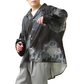 バルーンスリーブビックシルエット長袖オープンカラーシャツ (ブラック系1)