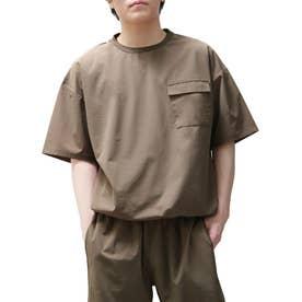 【撥水加工】【スーパーストレッチ】超軽量エアリー ドローコード付きワイドプルオーバーTシャツ 半袖 (ベージュ)