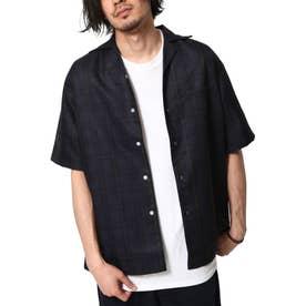 ポリシャンブレーワイドオープンカラーシャツ / 半袖 開襟シャツ リラックス (ブルー)