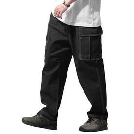 6ポケット ワイドシルエット カーゴパンツ (ブラック)