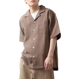 高密度ポリトロ半端袖オープンカラーシャツ (パープル)