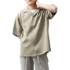 高密度ポリトロ半端袖オープンカラーシャツ (ベージュ)