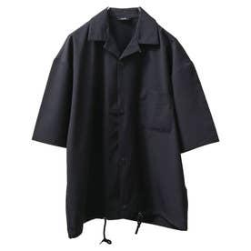 【撥水加工】【スーパーストレッチ】超軽量エアリー ドローコード付きワイドオープンカラーシャツ 半袖 (ブラック)