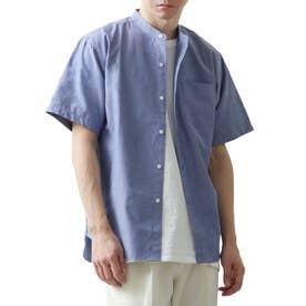 高密度T/Cブロード半袖バンドカラーシャツ (ネイビー)