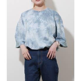 【古着風】タイダイ染めプリントビッグシルエット半袖Tシャツ (ブルー)