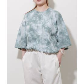 【古着風】タイダイ染めプリントビッグシルエット半袖Tシャツ (グリーン)