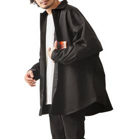 [Cooker Shirt]オーバーサイズシェフビックシャツジャケット【ユニセックス】 (ブラック)