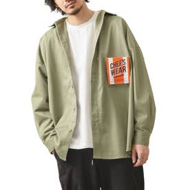 [Cooker Shirt]オーバーサイズシェフビックシャツジャケット【ユニセックス】 (カーキ)