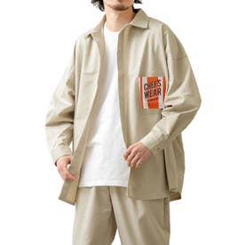 [Cooker Shirt]オーバーサイズシェフビックシャツジャケット【ユニセックス】 (ライトベージュ)