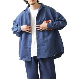 [Cooker Shirt]オーバーサイズシェフビックシャツジャケット【ユニセックス】 (ブルー系)