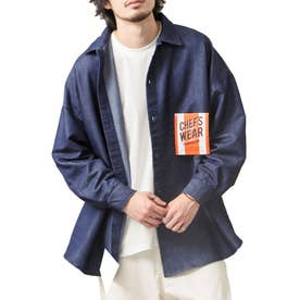 [Cooker Shirt]オーバーサイズシェフビックシャツジャケット【ユニセックス】 (ネイビー)