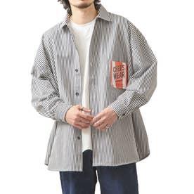 [Cooker Shirt]オーバーサイズシェフビックシャツジャケット【ユニセックス】 (ストライプ)