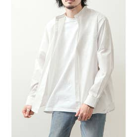 高密度T/Cブロード長袖バンドカラーシャツ (オフホワイト)