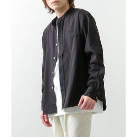 高密度T/Cブロード長袖バンドカラーシャツ (ブラック)