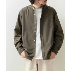 高密度T/Cブロード長袖バンドカラーシャツ (オリーブ)