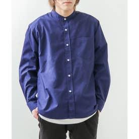 高密度T/Cブロード長袖バンドカラーシャツ (ダークネイビー)