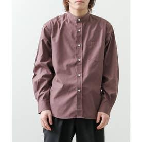 高密度T/Cブロード長袖バンドカラーシャツ (パープル)
