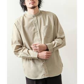 高密度T/Cブロード長袖バンドカラーシャツ (ベージュ)