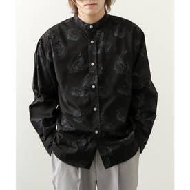 高密度T/Cブロード長袖バンドカラーシャツ (ブラック系)