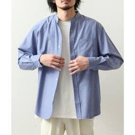 高密度T/Cブロード長袖バンドカラーシャツ (ネイビー系)