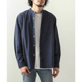 高密度T/Cブロード長袖バンドカラーシャツ (ネイビー系1)