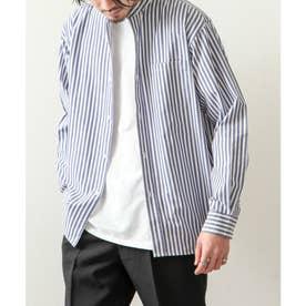 高密度T/Cブロード長袖バンドカラーシャツ (ブルー系)