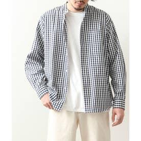 高密度T/Cブロード長袖バンドカラーシャツ (ネイビー系2)