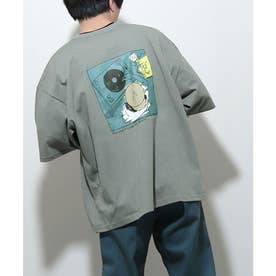 アソートイラストプリントビッグシルエット半袖Tシャツ【ユニセックス】 (グレー)
