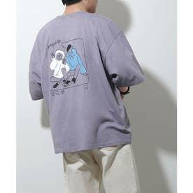 アソートイラストプリントビッグシルエット半袖Tシャツ【ユニセックス】 (グレー系2)