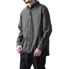 高密度T/Cブロード長袖レギュラーシャツ (チャコール)