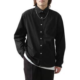 高密度T/Cブロード長袖レギュラーシャツ (ブラック)