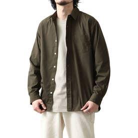 高密度T/Cブロード長袖レギュラーシャツ (オリーブ)