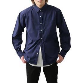 高密度T/Cブロード長袖レギュラーシャツ (ダークネイビー)