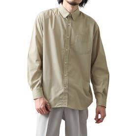 高密度T/Cブロード長袖レギュラーシャツ (ベージュ)