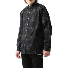 高密度T/Cブロード長袖レギュラーシャツ (ブラック系)