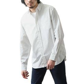 高密度T/Cブロード長袖レギュラーシャツ (ホワイト系)