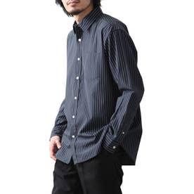 高密度T/Cブロード長袖レギュラーシャツ (ネイビー系1)